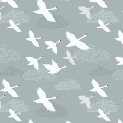 Lewis And Irene - Down By the River - Swans in Flight in Grey Blue