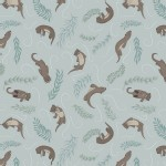Lewis And Irene - Down By the River - Playful Otters in Pale Blue