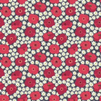 Lewis And Irene - Grandmas Garden - Red Poppy in Dark Grey
