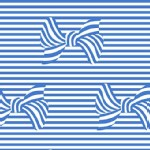 Michael Miller Fabrics - At the Seashore - Bows and Stripes in Sailor Blue