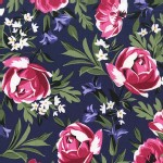 Michael Miller Fabrics - Bed of Roses - Roses in Sapphire