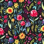 Michael Miller Fabrics - Florals - Garden Party - Meadow Menagerie in Black