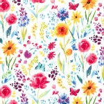 Michael Miller Fabrics - Florals - Garden Party - Meadow Menagerie in White