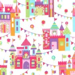 Michael Miller Fabrics - Kids - Princess Charming - Castle Town in Princess
