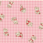 Quilt Gate - Dear Little World - Pocket Kitten Gingham in Pink