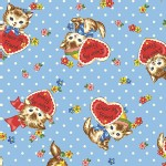 Quilt Gate - Dear Little World - Pocket Kitten Hearts in Blue