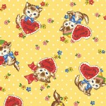 Quilt Gate - Dear Little World - Pocket Kitten Hearts in Yellow
