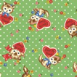 Quilt Gate - Dear Little World - Pocket Kitten Hearts in Green