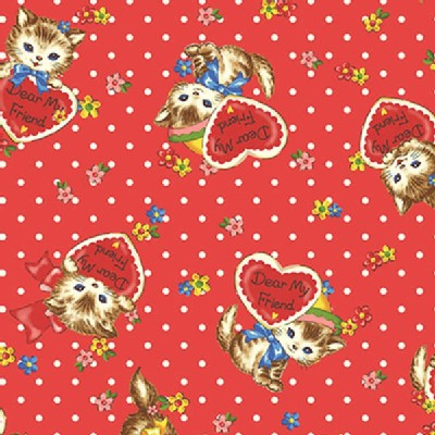Quilt Gate - Dear Little World - Pocket Kitten Hearts in Red