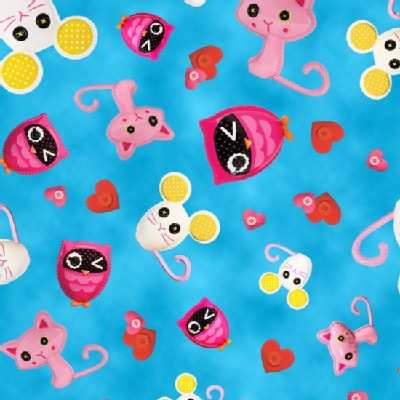 Quilting Treasures - Lalaloopsy - Animal Toss in Blue