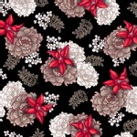 Quilting Treasures - Nobuko Believe - Tossed Floral in Black