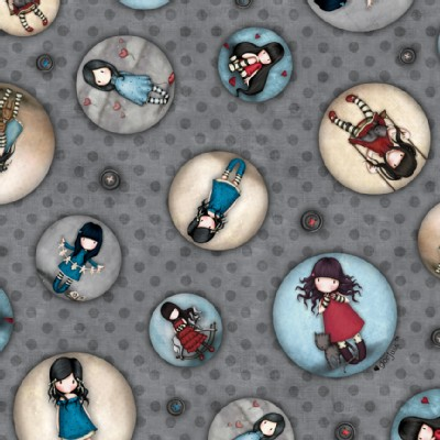 Quilting Treasures - Simply Gorjuss - Tossed Character Buttons in Gray