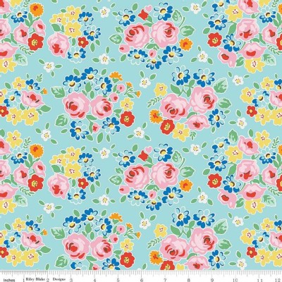 Riley Blake Designs - Bluebirds On Roses - Main in Aqua