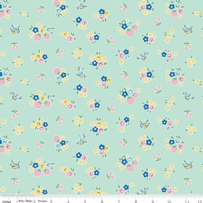 Riley Blake Designs - Bluebirds On Roses - Floral in Mint