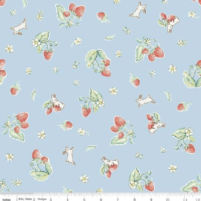 Riley Blake Designs - Bunnies and Cream - Strawberry in Blue