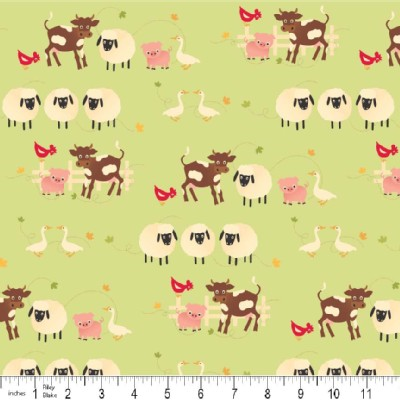 Riley Blake Designs - Farm Fresh - Animals in Green