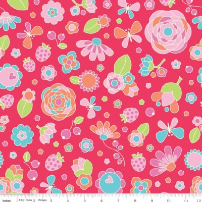 Riley Blake Designs - Flutterberry - Main Floral in Red