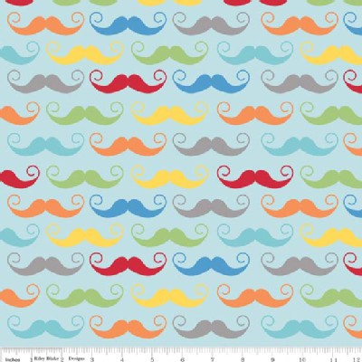 Riley Blake Designs - Geekly Chic - Mustache in Blue