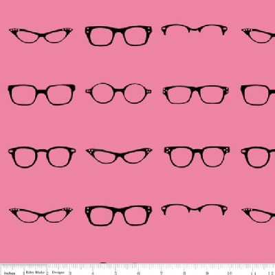Riley Blake Designs - Geekly Chic - Glasses in Pink