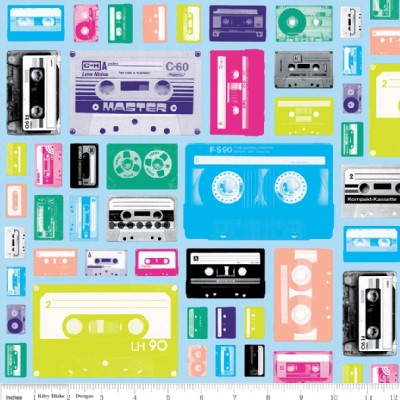 Riley Blake Designs - Geekly Chic - Cassettes in Blue