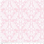 Riley Blake Designs - Hollywood - Damask in Baby Pink on White