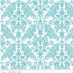 Riley Blake Designs - Hollywood - Sparkle Damask in Aqua