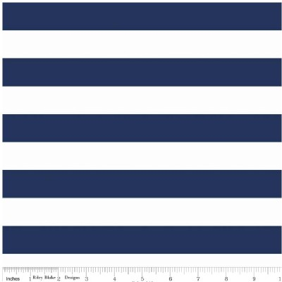 Riley Blake Designs - Knit Basics - Stripe in Navy / White