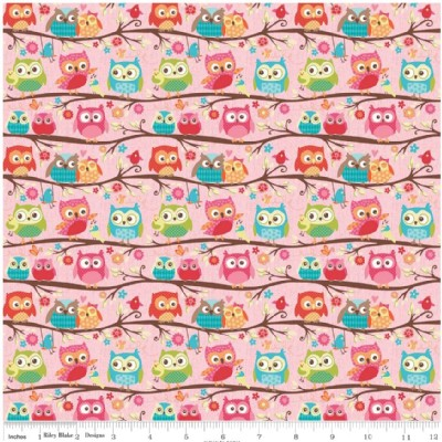 Riley Blake Designs - Knit Prints - Happy Flappers Owl in Pink