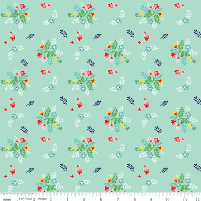 Riley Blake Designs - Knit Prints - Vintage Market Floral in Mint
