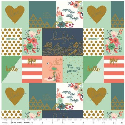 Riley Blake Designs - On Trend - Notecards in Coral Mint Metallic
