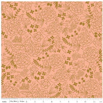 Riley Blake Designs - On Trend - Floral Imprint in Coral Metallic