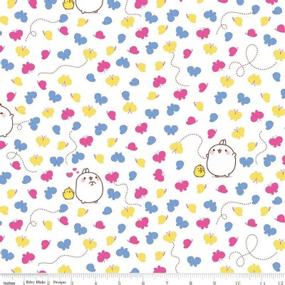 Riley Blake Designs - Others - Molang -Butterflies in White