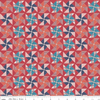 Riley Blake Designs - Stars and Stripes - Pinwheels in Red