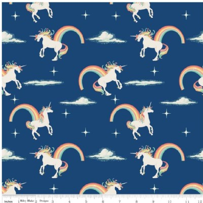 Riley Blake Designs - Unicorns and Rainbows - Unicorn Main in Navy