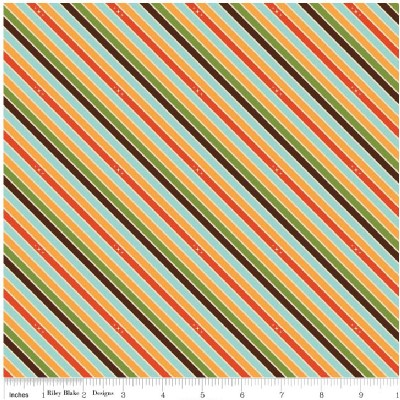 Riley Blake Designs - Unicorns and Rainbows - Unicorn Stripe in Orange