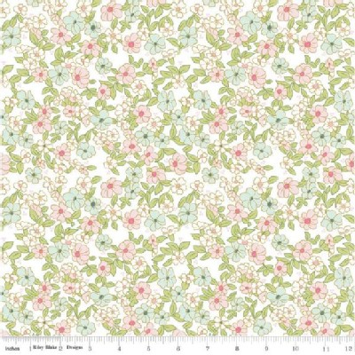 Riley Blake Designs - Wonderland - Small Florals in White Metallic