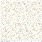 Riley Blake Designs - Wonderland - Tea Party in White Metallic