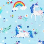 Robert Kaufman Fabrics - Happy Little Unicorns - Unicorn in Blue