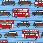 Robert Kaufman Fabrics - Next Stop London - Bus in Blue