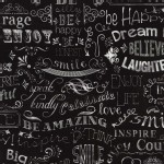 Timeless Treasures - Fun - Chalkboard in Black