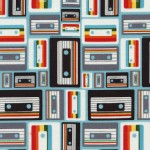 Timeless Treasures - Fun - Retro Geek - Cassette Tapes in Aqua