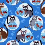 Timeless Treasures - Go Fish - Cat Play in Blue