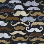 Timeless Treasures - Menswear - Moustaches in Navy