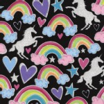 Timeless Treasures - Novelty - Glitter Unicorns and Rainbows in Black