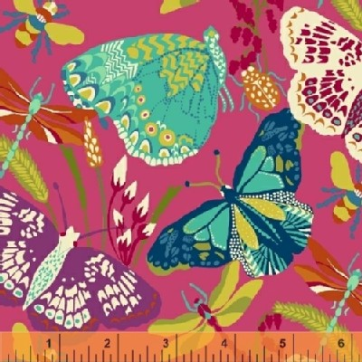 Windham Fabrics - Butterfly Dance - Butterflies in Pink