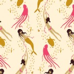 Windham Fabrics - Mendocino - Underwater Sisters in Cream / Dark Pink