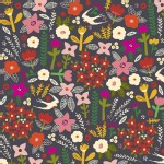 Windham Fabrics - Petite Fleurs Organic - Wood Swallows in Navy
