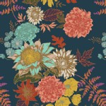 Art Gallery Fabrics - AGF Collection - Autumn Vibes - Floral Glow in Twilit