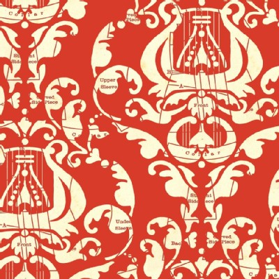 Quilting Treasures - Handmaidens - Angel Band - Damask in Red