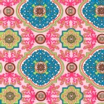 Robert Kaufman Fabrics - Laguna Jersey Prints - Tile Damask in Multi Pink